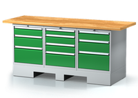 Ponk do dílny na podstavci - šířka 2000 mm, 2x 3 zásuvky, 1x 4 zásuvky