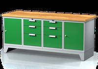 Dílenský ponk na nohách - šířka 2000 mm, 2x dvířka, 2x 3 zásuvky