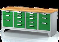 Dílenský ponk na nohách - šířka 2000 mm, 2x 3 zásuvky, 2x 5 zásuvek