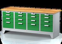 Dílenský ponk na nohách - šířka 2000 mm, 4x 4 zásuvky