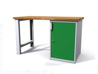 Stůl do dílny - šířka 1200 mm, 1 kontejner: 1 dvířka