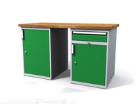 Stůl do dílny - šířka 1500 mm, 2 kontejnery: 1 dvířka a 1 zásuvka + 1 dvířka