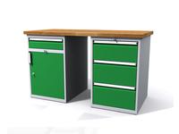 Stůl do dílny - šířka 1500 mm, 2 kontejnery: 1 zásuvka + dvířka a 3 zásuvky