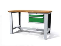 Stůl do dílny - šířka 1500 mm, 1 kontejner: 2 zásuvky
