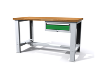 Stůl do dílny - šířka 1500 mm, nastavitelná výška, 1 kontejner - 1 zásuvka