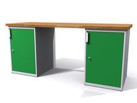 Stůl do dílny - šířka 2000 mm, 2 kontejnery: 2 dvířka