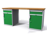 Stůl do dílny - šířka 2000 mm, 2 kontejnery: 2 zásuvky + 2 dvířka