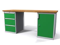 Stůl do dílny - šířka 2000 mm, 2 kontejnery - 3 zásuvky a 1 dvířka
