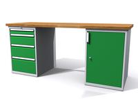 Stůl do dílny - šířka 2000 mm, 2 kontejnery: 4 zásuvky a 1 dvířka