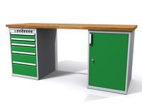 Stůl do dílny - šířka 2000 mm, 2 kontejnery: 5 zásuvek + energokanál a 1 dvířka