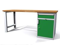 Stůl do dílny - šířka 2000 mm, 1 kontejner: 1 zásuvka + 1 dvířka
