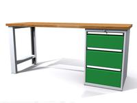 Pracovní dílenský stůl - šířka 2000 mm, kontejner - 3 zásuvky