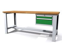 Stůl do dílny - šířka 2000 mm, nastavitelná výška, 1 kontejner: 2 zásuvky