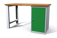 Dílenský stůl - šířka 1200 mm, 1 kontejner: 1 dvířka
