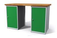Dílenský stůl - šířka 1500 mm, 2 kontejnery: 2 dvířka