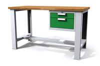 Dílenský stůl - šířka 1500 mm, 1 kontejner: 2 zásuvky