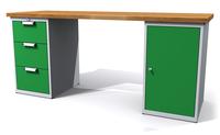 Dílenský stůl - šířka 200 mm, 2 kontejnery: 3 zásuvky a 1 dvířka