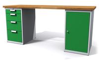 Dílenský stůl - šířka 200 mm, 2 kontejnery: 4 zásuvky a 1 dvířka
