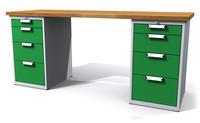 Dílenský stůl - šířka 200 mm, 2 kontejnery: 4 a 4 zásuvky