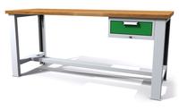 Dílenský stůl - šířka 2000 mm, nastavitelná výška, 1 kontejner: 1 zásuvka
