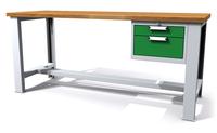 Dílenský stůl - šířka 2000 mm, nastavitekná výška, 1 kontejner: 2 zásuvky