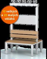 Oboustranná šatní lavice s věšáky (10 velkých a 20 malých)