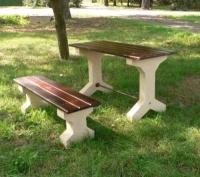 Piknikový stůl - beton-dřevo MM800214