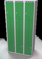 Šatní skříňky - dvouplášťové dveře tvaru Z, kovové A1M 30 3 Z S