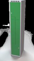 Šatní skříňky - dvouplášťové dveře tvaru Z, kovové A1M 35 1 Z S