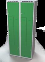 Šatní skříňky - dvouplášťové dveře tvaru Z, kovové A1M 40 2 Z S