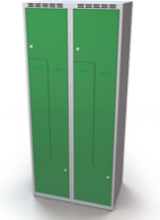 Šatní skříňky - dvouplášťové dveře tvaru Z, kovové A3M 40 2 Z S