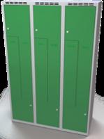 Šatní skříňky - jednoplášťové dveře tvaru Z, kovové L1M 40 3 Z S