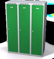 Šatní skříňka Aldop snížená - dvouplášťové dveře, šířka / počet oddělení: 400 mm / 3
