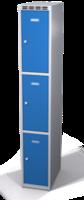 Šatní skříňka s boxy Aldop - dvouplášťové dveře, 3 boxy (1 oddělení)