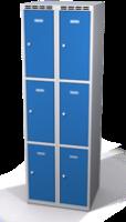Šatní skříňka s boxy Aldop - dvouplášťové dveře, 6 boxů (2 oddělení)