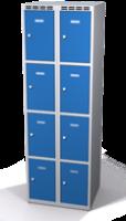 Šatní skříňka s boxy Aldop - dvouplášťové dveře, 8 boxů (2 oddělení)