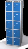 Šatní skříňka s boxy Aldop - dvouplášťové dveře, 10 boxů (2 oddělení)