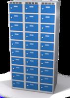 Šatní skříňka s boxy Aldop - dvouplášťové dveře, 30 boxů (3 oddělení)