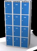 Šatní skříňka s boxy Aldop - dvouplášťové dveře, 12 boxů (3 oddělení)