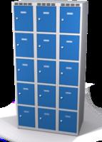 Šatní skříňka s boxy Aldop - dvouplášťové dveře, 15 boxů (3 oddělení)