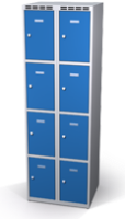 Šatní skříňka s boxy Alsin - jednoplášťové dveře, 8 boxů (2 oddělení)
