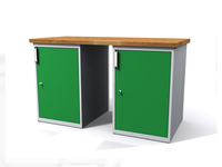 Stůl do dílny - šířka 1500 mm, 2 kontejnery: 1 a 1 dvířka