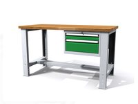 Stůl do dílny - šířka 1500 mm, nastavitelná výška, 1 kontejner - 2 zásuvky