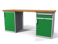 Stůl do dílny - šířka 2000 mm, 2 kontejnery: 1 dvířka a 1 zásuvka + 1 dvířka