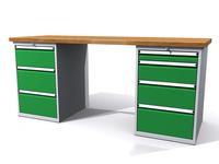 Stůl do dílny - šířka 2000 mm, 2 kontejnery: 3 a 4 zásuvky