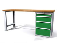 Stůl do dílny - šířka 2000 mm, 1 kontejner: 4 zásuvky