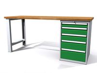 Stůl do dílny - šířka 2000 mm, 1 kontejner: 5 zásuvek