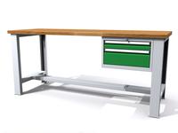 Stůl do dílny - šířka 2000 mm, 1 kontejner: 2 zásuvky