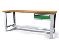 Stůl do dílny - šířka 2000 mm, nastavitelná výška, 1 kontejner: 1 zásuvka