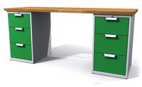 Dílenský stůl - šířka 2000 mm, 2 kontejnery: 3 a 3 zásuvky